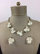 Vintage Necklace & Earrings Sarah Coventry Signed Jewelry Grapevine Grape Leaves