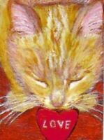 BCB Orange Tabby Cat Kitten Valentine Print of Painting ACEO 2.5 x 3.5 Inches