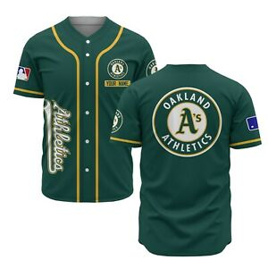 Oakland Athletics Green Baseball Line Customize Name Baseball Jersey Shirt S-3XL