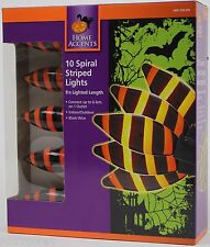 Halloween Home Accents 10 Spiral Orange & Black Striped String Lights NIB