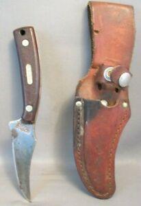 """Vintage 7"""" Schrade 152 Skinner Hunting Knife & Sheath 3 1/4"""" Blade ESTATE FIND"""