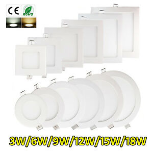 LED RECESSED LIGHTING PANEL CEILING DOWN LIGHT ULTRASLIM ROUND SQUARE DOWNLIGHTS