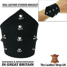 New Handmade Conical V-Shaped Leather Design Cuff Press Stud Wristband UK Made