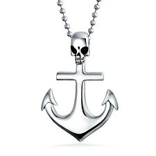 Ship Boat Anchor Pirate Skull Pendant Necklace Black Stainless Steel