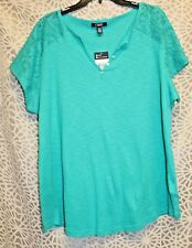 NWT Women's Chaps S/S Lace Sleeve Tropic Bay Blue Knit Top - 2X - $45