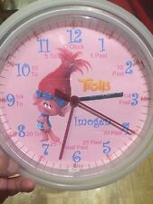 Girls Trolls Movie Teaching wall Clock. Learn Tell Time Personalised. Xmas Gift