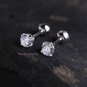 Pair Surgical Steel Round CZ Prong Tragus Cartilage Ear Piercing Studs Screw