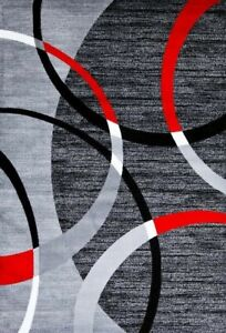 Area Rug Black with Red Swirls 5' x 7' Modern Abstract Rug Carpet. NEW!