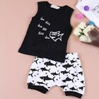Kids Baby Boy Girl Summer Shark Clothes Casual Tops T-shirt+Pants 2pcs Outfits