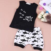 Kids Baby Boy Girl Summer Shark Clothes Casual Tops T-shirt+Pants 2pcs Outfits