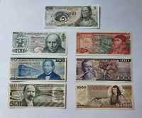 BANKNOTES MEXICO SET (COLLECTION) 7 PIECES 5, 10, 20, 50, 100, 500, 1000 PESOS