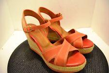 """Clarks"" womens platform opentoe 70's style orange shoe sz. 10M"