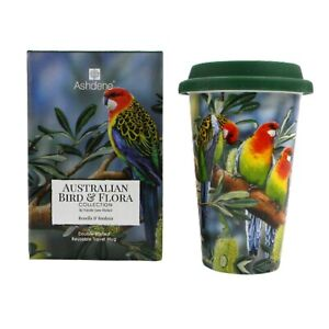 Rosella & Banksia Australia Bird Flora Double Walled Bone China Travel Mug Cup