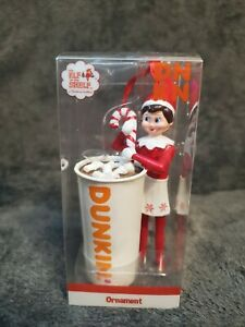 DUNKIN DONUTS ELF ON THE SHELF (GIRL) STIRRING HOT CHOCOLATE ORNAMENT NIB