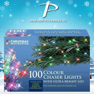 The Christmas Workshop 100 LED Multi-Colour Chaser Lights Set - UK Plug