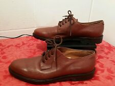 Salvatore Ferragamo Italy Brown Pebbled Leather Lace-Up Oxford Shoes Sz 9 1/2 D