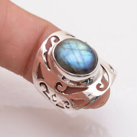 925 Sterling Silver Ring UK Size M, Natural Labradorite Silver Jewelry R2867