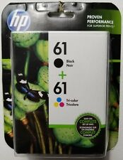NEW HP 61 Black + 61 Tri-Color Ink Cartridges CR259FN Exp 4/2019+ FREE SHIPPING