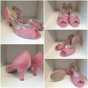 Jacques Vert Dianthus Pink Rose Low Heels Peep Toe Wedding Shoes UK 5 EU 38