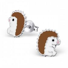 Girls Boys Sterling Silver Hedgehog Stud Earrings -  Gift Boxed
