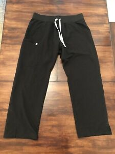 Figs Technical Collection Scrubs Pants Bottoms L Large L/P Black Women's