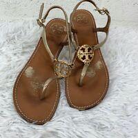 Tory Burch Thong Flat Sandals, Metallic Gold, Size 8M.