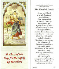 St Saint Christopher Pray for Safety of Travelers card w/ The Motorists Prayer