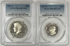 1977-S Kennedy 50c & Washington 25c PCGS PR69DCAM (2 Coin Set)