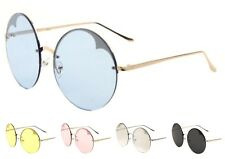 Wholesale 12 Pair Fashion Round Rimless Sunglasses with Color Lens