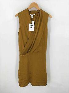 Diane Von Furstenberg Womens Tissue Dress Gold Brown Sleeveless 100% Silk 4 New
