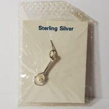 Colgante de plata esterlina .925 FOB encanto-Pelota De Tenis Raqueta & Perlas de Imitación