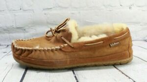 LL BEAN Men's Brown Suede Wicked Good Moccasin Slippers Size 11 Wide