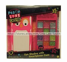PEACE LOVE DESIGN 2pc Eyeshadow Palette+Smartphone Case FITS iPHONE 4/4S Set OWL