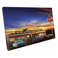 Retro Vintage Canvas Hanging Prints Choice Of 4 Designs Americana Diner Signs