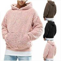 Mens Casual Bear Fluffy Teddy Hooded Hoodie Pullover Sweatshirt Sweater Jacket