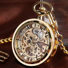 Dial Mechanical Pocket Watch With Chain Fashion Retro Wooden Case Roman Number