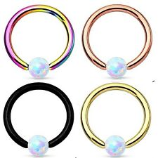 New Gold Black Rainbow IP over Surgical Steel Captive Bead Ring with Opal Ball