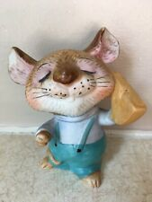 """Homco 5601 Mouse Holding Cheese Porcelain Ceramic Figurine 3 1/2"""" Perfect"""