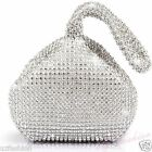 Silver Crystal Diamante Ladies Party Evening Wedding Clutch Hand Bag Pouch Purse