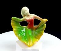 "SHAWNEE ART POTTERY GREEN YELLOW DANCING LADY 4 3/4"" MINI FIGURAL PLANTER 1945-"