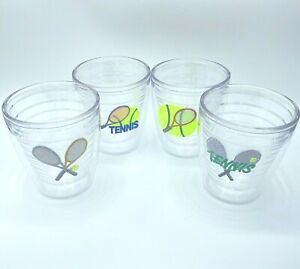Lot of 4 Tervis Tumblers 12oz Set of 4 Tennis Cups Insulated Clear Drinkware