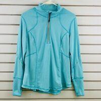 Womens L Tangerine Mint Stripe Space Dye 1/4 Zip Activewear Pullover Long Sleeve