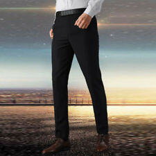 Mens Solid Skinny Trousers Formal Straight-Leg Party Stretch Business Pant Dress