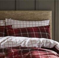 Catherine Lansfield Brushed Cotton Reversible Red Tartan Check Duvet Cover Sets