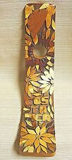 Costa Rica Souvenir Handcrafted Wood Mosaic Wine Bottle Holder Flowers & Turtle