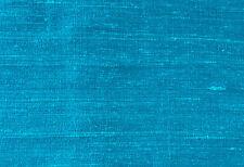 """Bright Sea Blue. Dupioni Silk.  44"""" Wide, Elegant Fabric. 1 Yard.  Sewing DIY."""