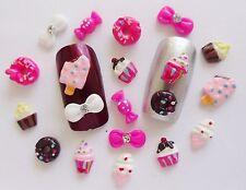 "20pc x ""Sweet"" Ice Cream Lolly Do-Nuts,Cupcakes,Rhinestone Bow 3D Nail Art Craft"