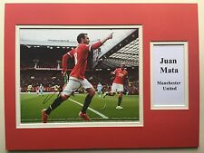 """Manchester United Juan Mata Signed 16"""" X 12"""" Double Mounted Display"""