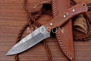 Damast  Messer, sehr schönes Hand geschmiedetes Damast Jagd Messer 726EA