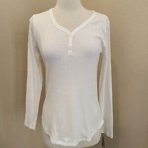 NWT Dickies Cream Ribbed Long Sleeve Henley Top T-Shirt Size Small